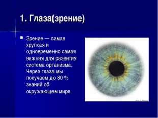 1. Глаза(зрение) Зрение — самая хрупкая и одновременно самая важная для разви