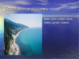 Естественные водоемы море, река, озеро, лужа, лиман, ручей, плавни.