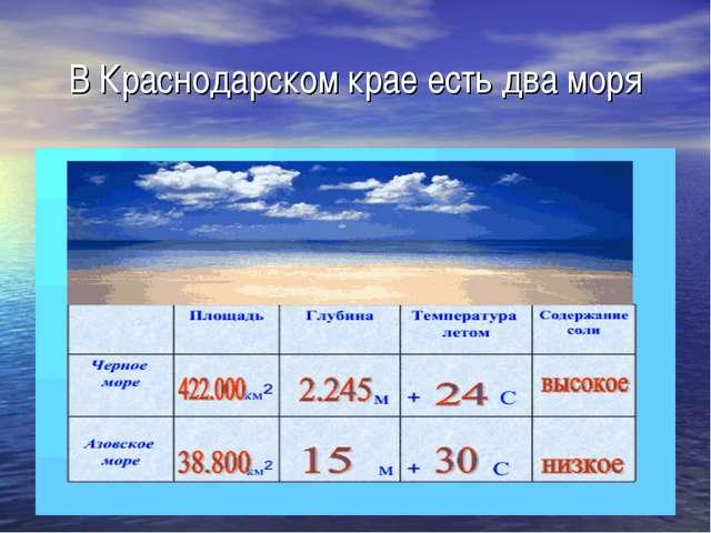 В Краснодарском крае есть два моря
