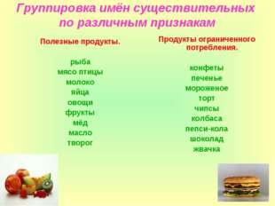 Группировка имён существительных по различным признакам Полезные продукты. ры