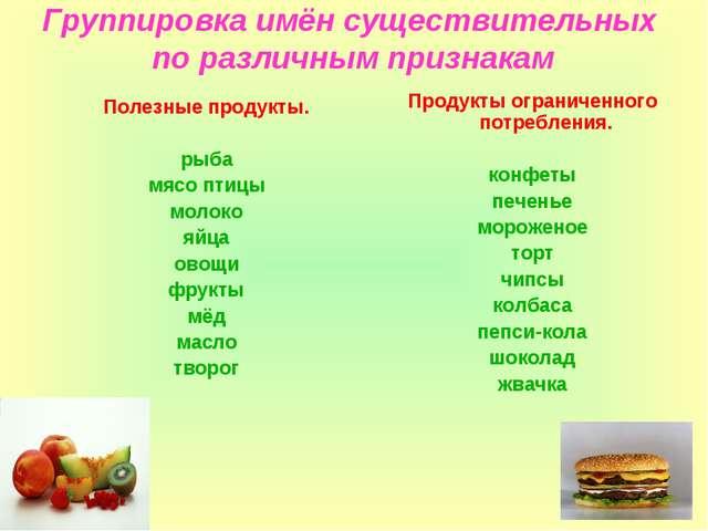 Группировка имён существительных по различным признакам Полезные продукты. ры...