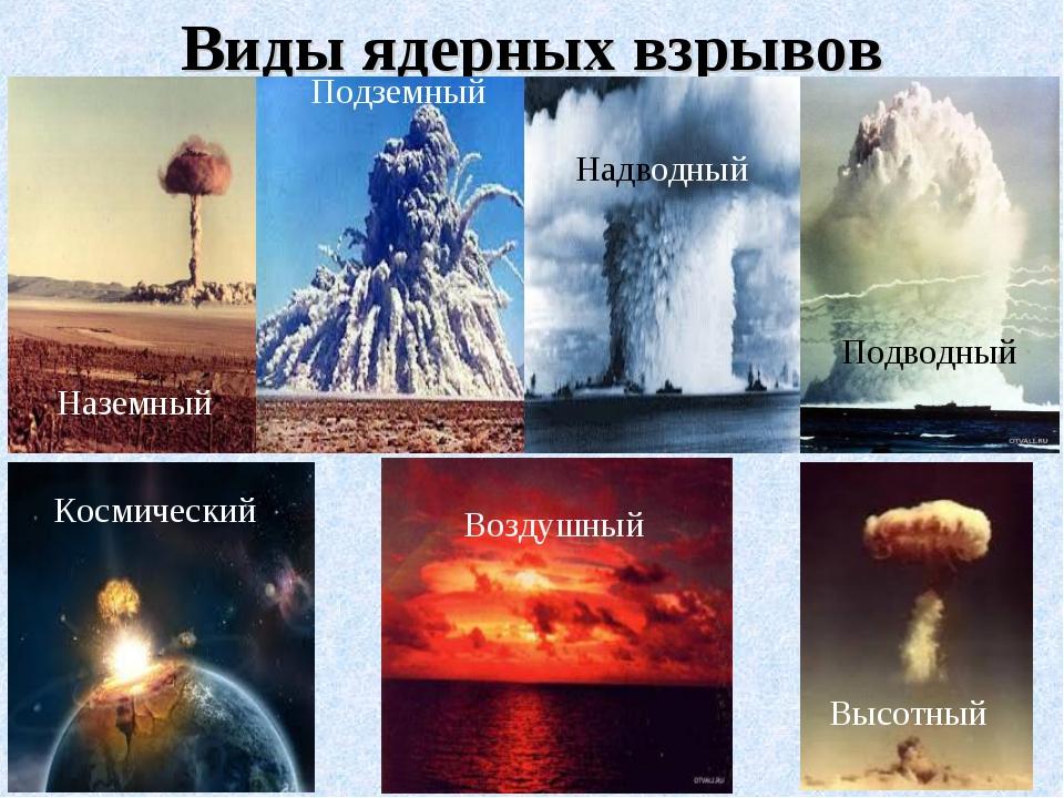 Виды ядерных взрывов Подводный Наземный Воздушный Космический Высотный Подзем...