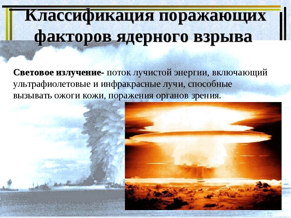 Классификация поражающих факторов ядерного взрыва Световое излучение- поток л...
