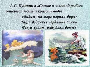 А.С. Пушкин в «Сказке о золотой рыбке» описывал мощь и красоту воды. «Видит,