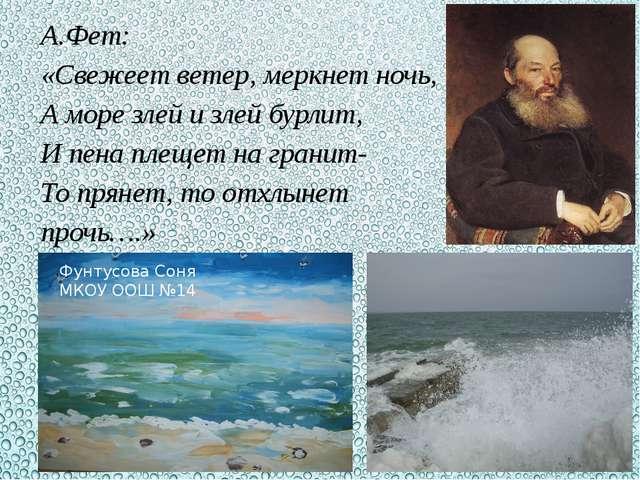 А.Фет: «Свежеет ветер, меркнет ночь, А море злей и злей бурлит, И пена плещет...