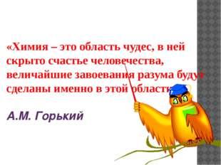 «Химия – это область чудес, в ней скрыто счастье человечества, величайшие зав