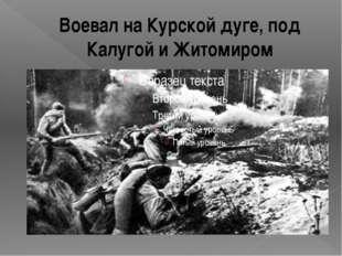 Воевал на Курской дуге, под Калугой и Житомиром