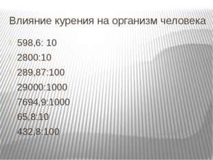 Влияние курения на организм человека 598,6: 10 2800:10 289,87:100 29000:1000