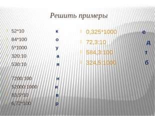 Решить примеры 52*10 к 84*100 о 5*1000 у 320:10 а 530:10 я 7200:100 н 52000:1