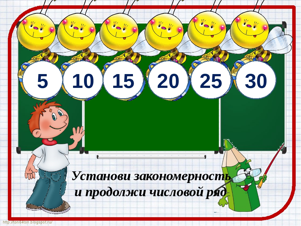 5 10 15 20 Установи закономерность и продолжи числовой ряд 25 30 http://ton64...