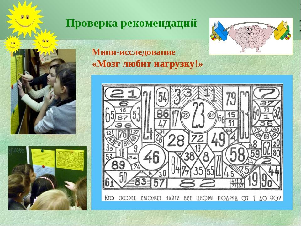 Мини-исследование «Мозг любит нагрузку!» Проверка рекомендаций