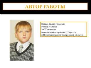 Петров Данил Игоревич ученик 7 класса МОУ гимназия муниципального района г. Н