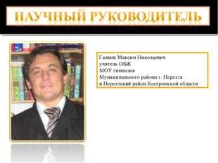 Галкин Максим Николаевич учитель ОБЖ МОУ гимназия Муниципального района г. Не