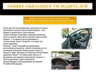 Водитель механического транспортного средства, участвующий в международном до