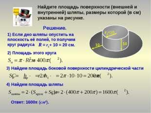Найдите площадь поверхности (внешней и внутренней) шляпы, размеры которой (в