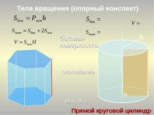 Тела вращения (опорный конспект) О1 Прямой круговой цилиндр основание высота