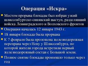 Операция «Искра» Местом прорыва блокады был избран узкий шлиссенбургско-синяв