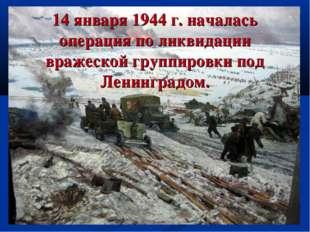 14 января 1944 г. началась операция по ликвидации вражеской группировки под Л