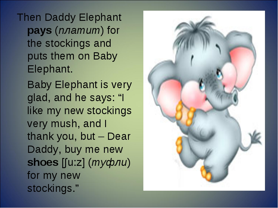 Then Daddy Elephant pays (платит) for the stockings and puts them on Baby Ele...
