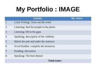 My Portfolio : IMAGE 	Activity 	My Score 1	Lexis Writing: Cross out the word