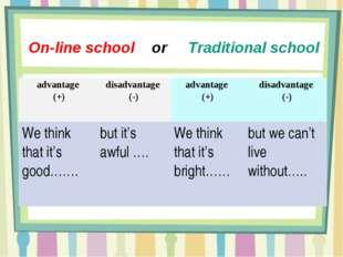 On-line school or Traditional school advantage (+)disadvantage (-)advantage