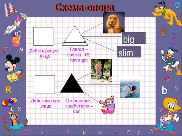 big slim Действующее лицо Действующее лицо Глагол – связка IS, have got Отнош...