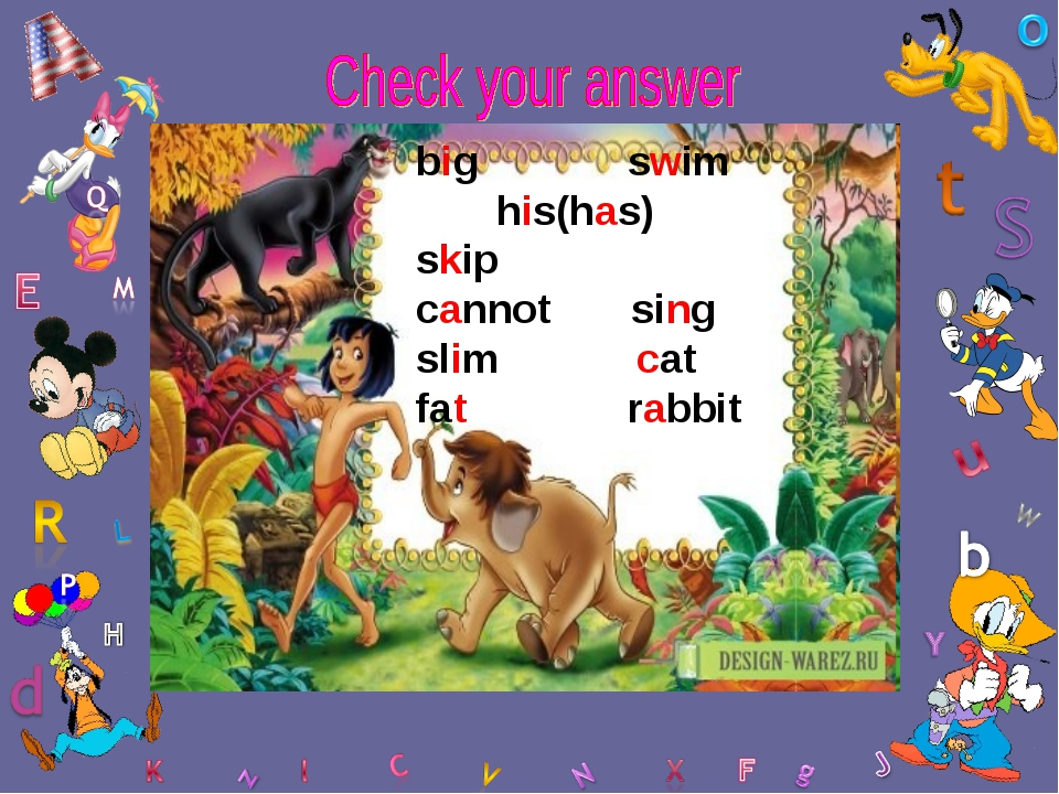 big swim his(has) skip cannot sing slim cat fat rabbit