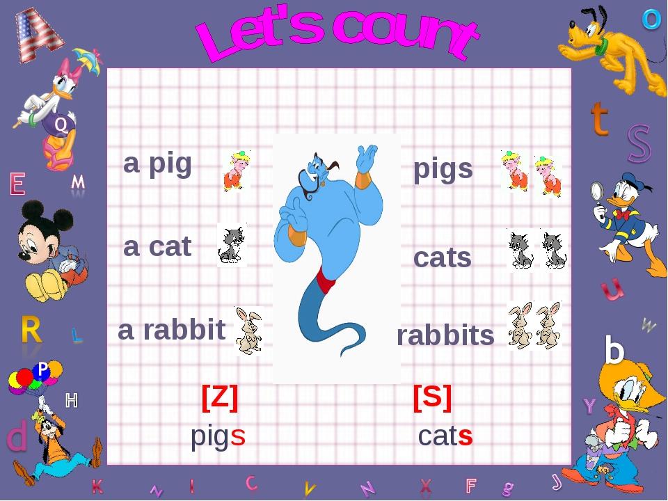 a pig a cat a rabbit pigs cats rabbits [Z] [S] pigs cats