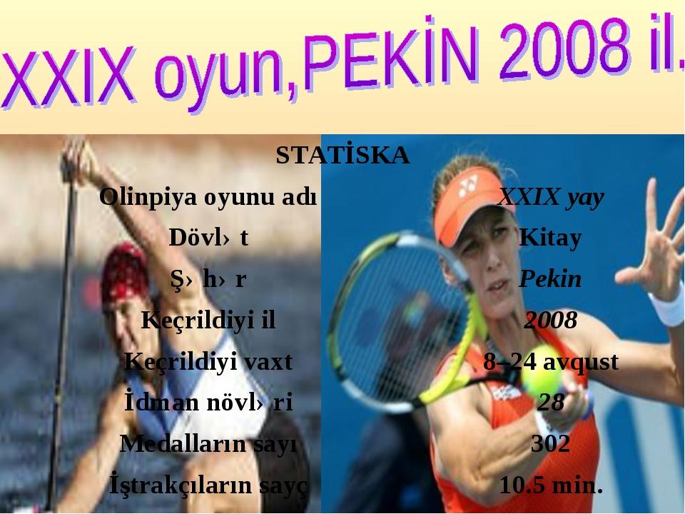 STATİSKA Olinpiya oyunu adıXXIX yay DövlətKitay ŞəhərPekin Keçrildiyi il...
