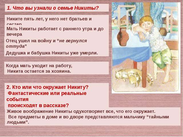 1. Что вы узнали о семье Никиты? Никите пять лет, у него нет братьев и сесте...