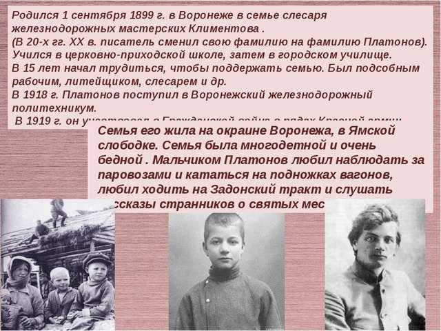 Родился 1 сентября 1899 г. в Воронеже в семье слесаря железнодорожных мастер...