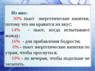 Из них: 30% пьют энергетические напитки, потому что им нравится их вкус; 14%
