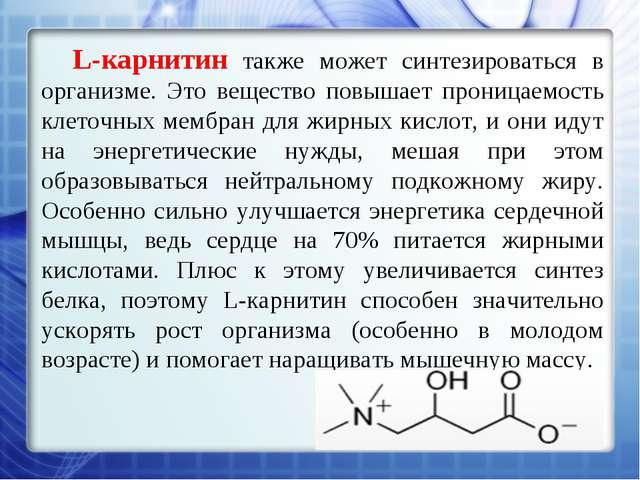 L-карнитин также может синтезироваться в организме. Это вещество повышает про...