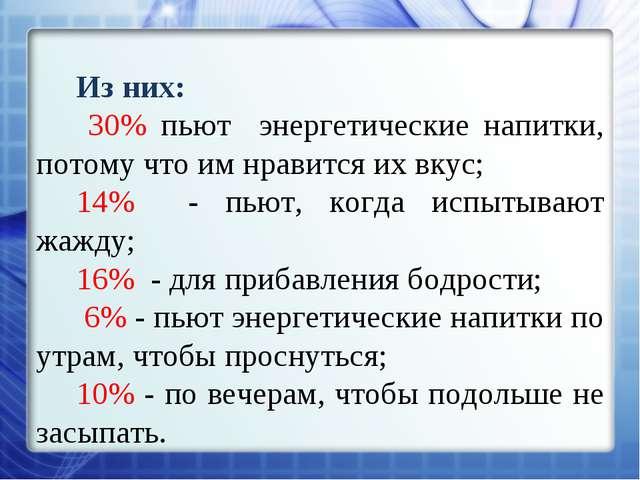 Из них: 30% пьют энергетические напитки, потому что им нравится их вкус; 14%...