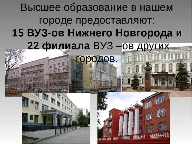 Высшее образование в нашем городе предоставляют: 15 ВУЗ-ов Нижнего Новгорода...