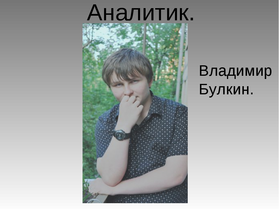 Аналитик. Владимир Булкин.