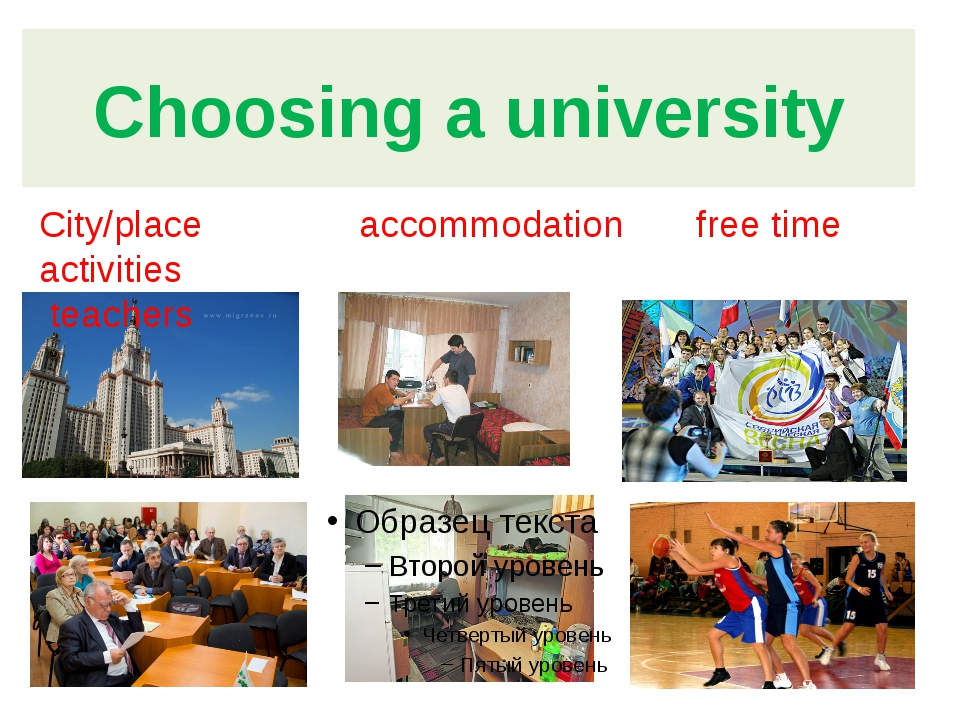 Choosing a university City/place accommodation free time activities teachers