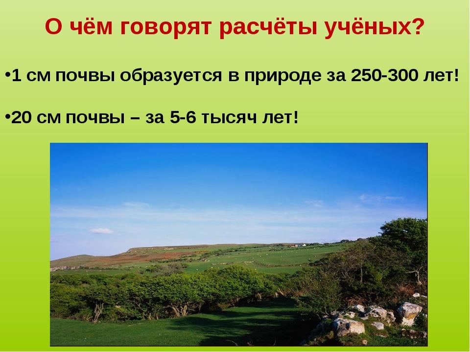 О чём говорят расчёты учёных? 1 см почвы образуется в природе за 250-300 лет!...