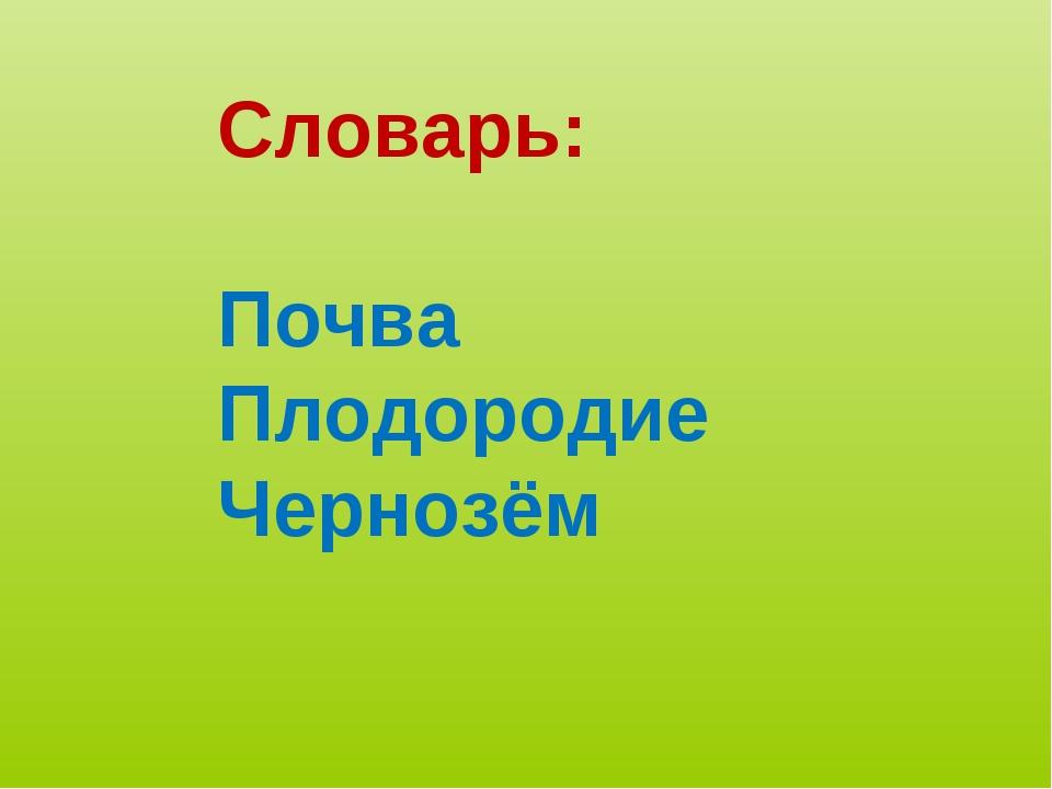 Словарь: Почва Плодородие Чернозём