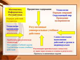 Предметное содержание * Регулятивные универсальные учебные действия Математик