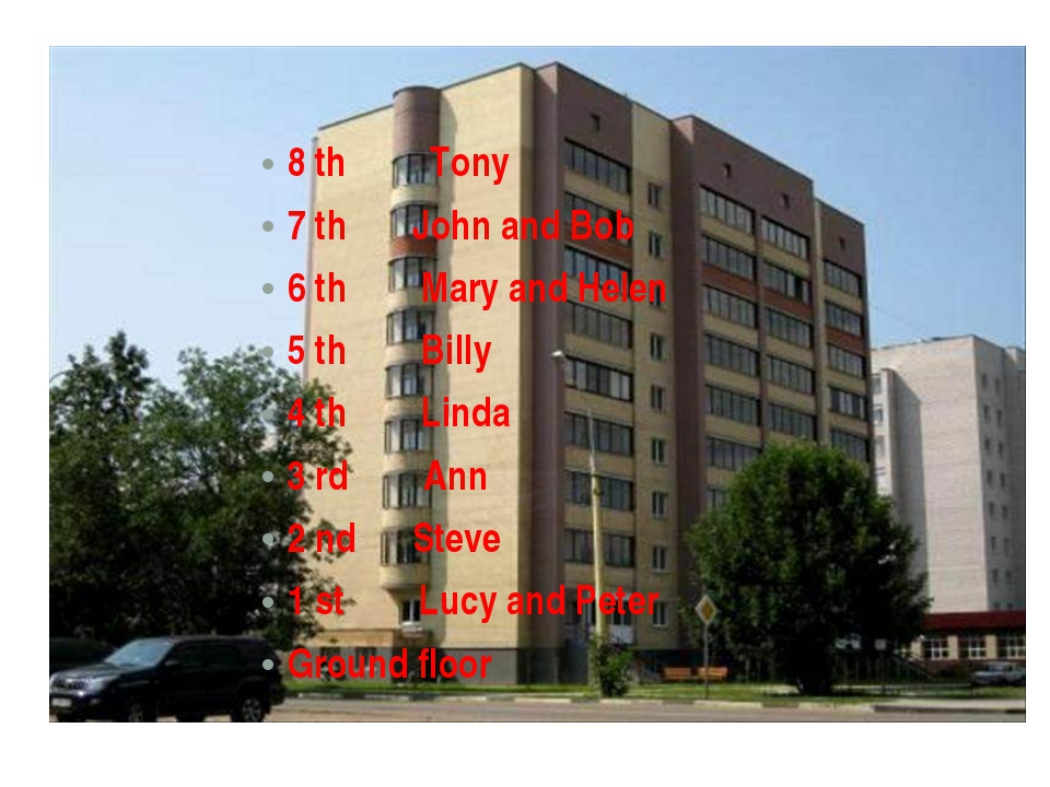 8 th Tony 7 th John and Bob 6 th Mary and Helen 5 th Billy 4 th Linda 3 rd An...