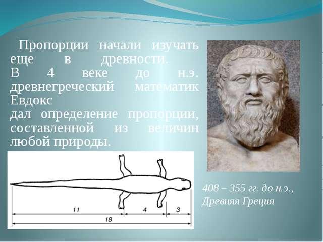 Пропорции начали изучать еще в древности. В 4 веке до н.э. древнегреческий м...