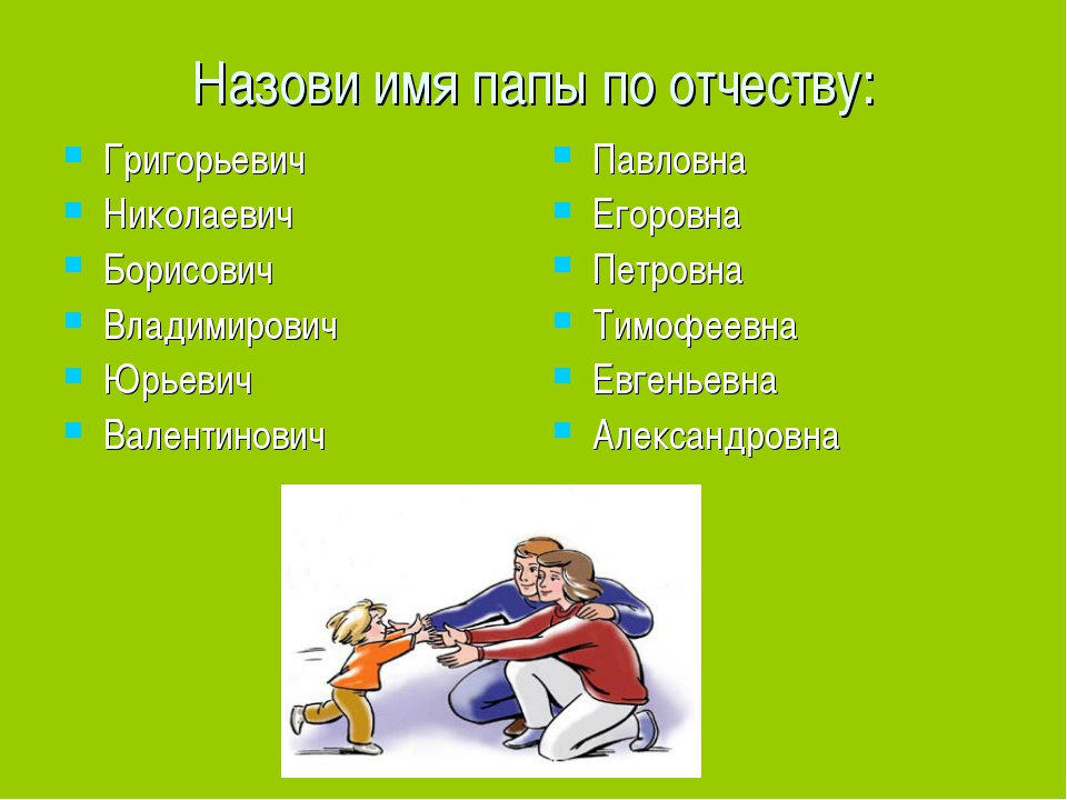 Назови имя папы по отчеству: Григорьевич Николаевич Борисович Владимирович Юр...