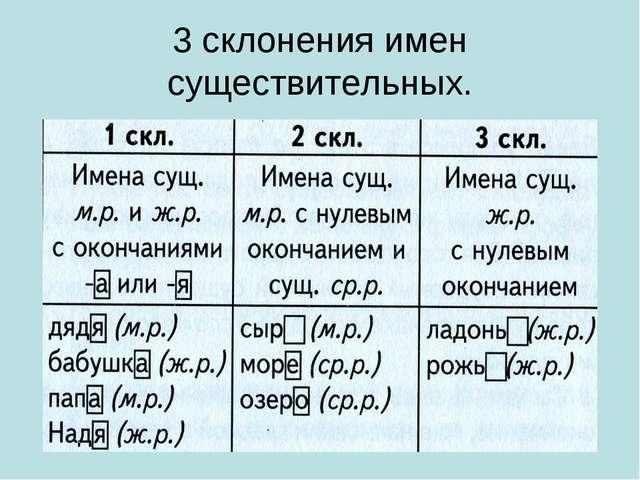 3 склонения имен существительных.
