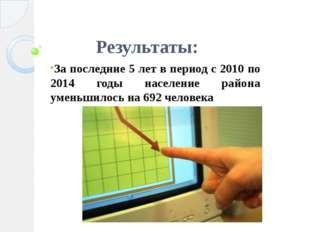 Результаты: За последние 5 лет в период с 2010 по 2014 годы население района