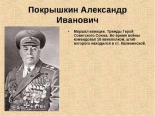 Покрышкин Александр Иванович Маршал авиации. Трижды Герой Советского Союза. В
