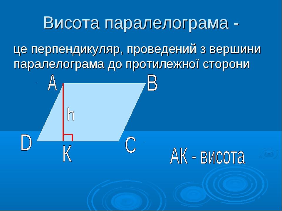 Висота паралелограма - це перпендикуляр, проведений з вершини паралелограма д...