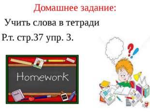 Домашнее задание: Учить слова в тетради Р.т. стр.37 упр. 3.