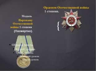 Медаль Партизану Отечественной войны 1 степени (Посмертно). Орденом Отечеств