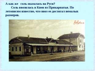 А как же соль оказалась на Руси? Соль ввозилась в Киев из Прикарпатья. По лет